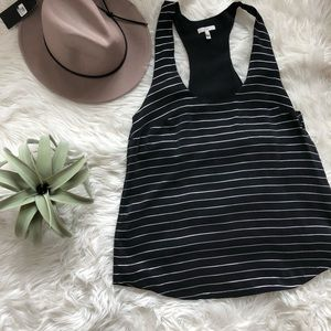 JOIE silk black and white stripped tank racer back